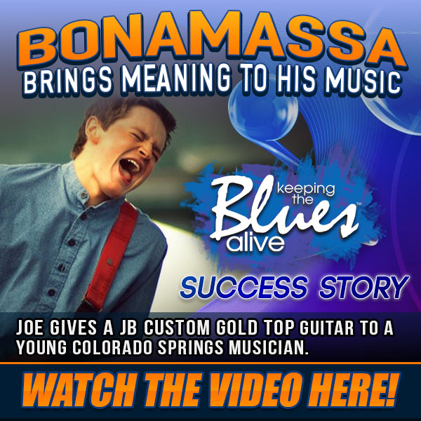 Bonamassa Keeps Bringing Meaning To His Music! Joe personally gives a JB Custom Gold Top guitar to a Young Colorado Springs Musician. Watch now!