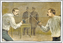 Two mustached men dueling with rapiers (seriously, you're reading the caption instead of looking at the pics?)